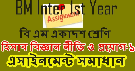 BM Inter 1st Year Accounting Assignment Answer 2021
